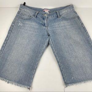 SUPRE Distressed Frayed Knee Denim Shorts S